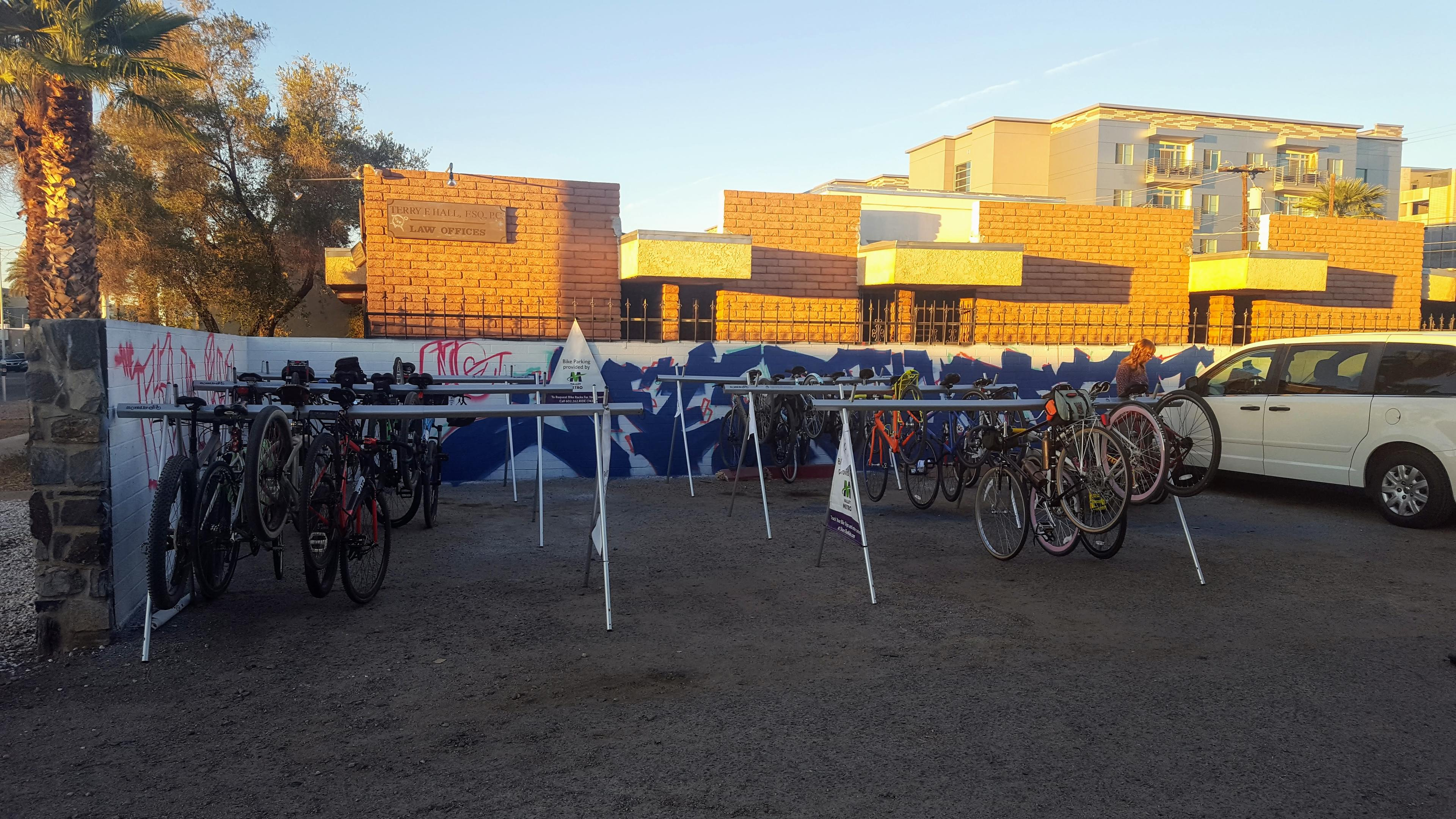 parking lot with bike valet